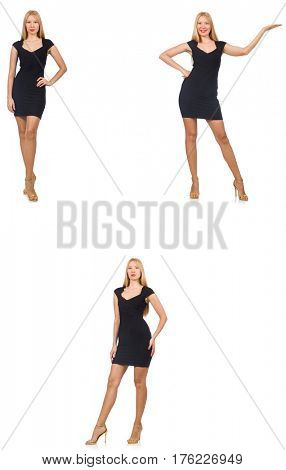 Collage of woman in fashion look isolated on white