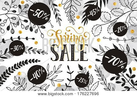 Spring sale lettering with branches and whatercolor spots on white background. Spring discount banner.