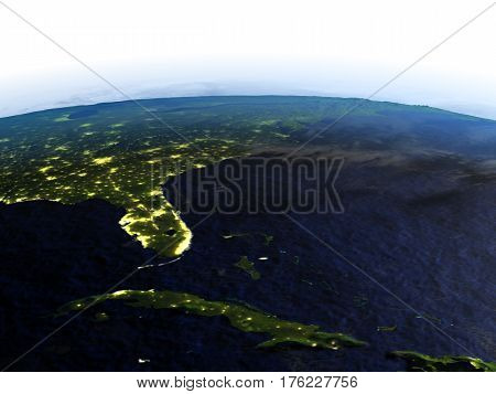 East Coast Of Usa At Night On Realistic Model Of Earth
