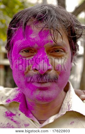 Man Celebrating Holi Festival