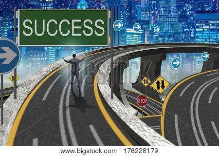 Businessman in business success concept