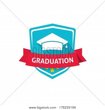 Graduation emblem vector illustration, flat style academy hat with red ribbon and graduation text, school or university crest symbol idea