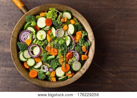 Close-up Of Sliced Raw Vegetables, Top View