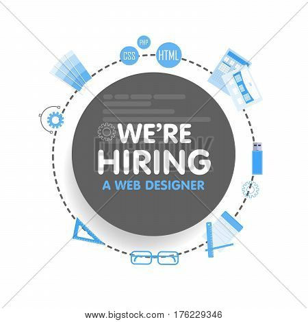 We hire a web designer. Megaphone concept vector illustration. Banner template, ads, search for employees, hiring graphick artist for work.