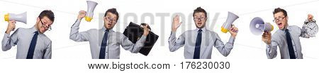 Businessman with loudspeaker isolated on white