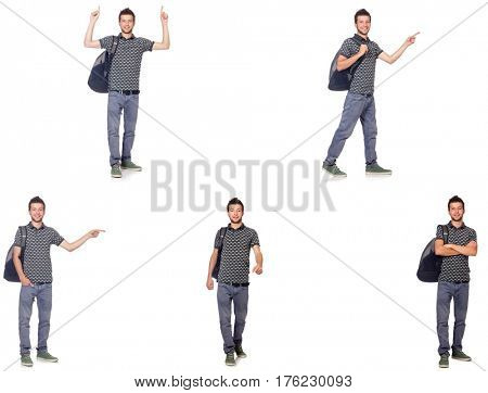 Collage of student with backpack on white