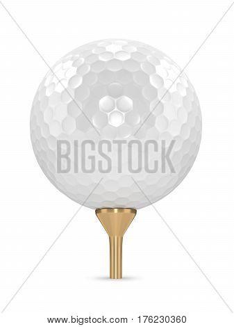 3D Render Of Golf Ball On Golden Tee