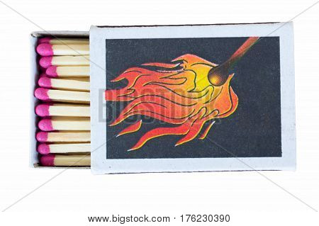 Open box with matches with red heads close-up on a white background lying flat