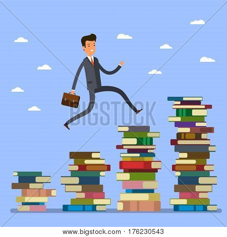 Concept of Business education. Businessman jumping over higher stack of books. Flat design, vector illustration.