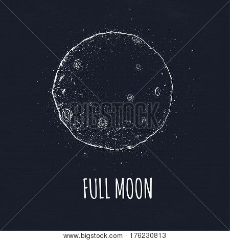Logo hand drawn vector illustration on black background. Full moon in outer space with lunar craters.