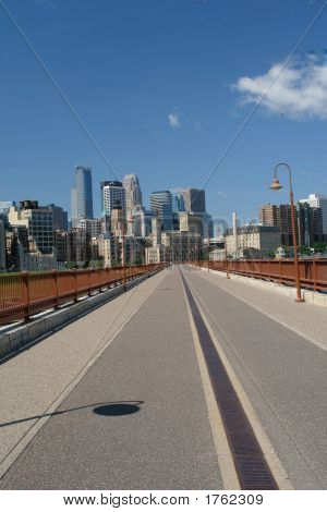 Minneapolis Skyline From Stone Wall Bridge