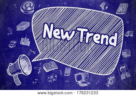 New Trend on Speech Bubble. Doodle Illustration of Shrieking Horn Speaker. Advertising Concept. Business Concept. Loudspeaker with Wording New Trend. Doodle Illustration on Blue Chalkboard.