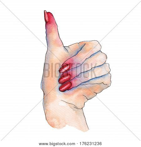 Gesture with your fingers, thumbs up. A woman's hand. Isolated on white background. Watercolor illustration.