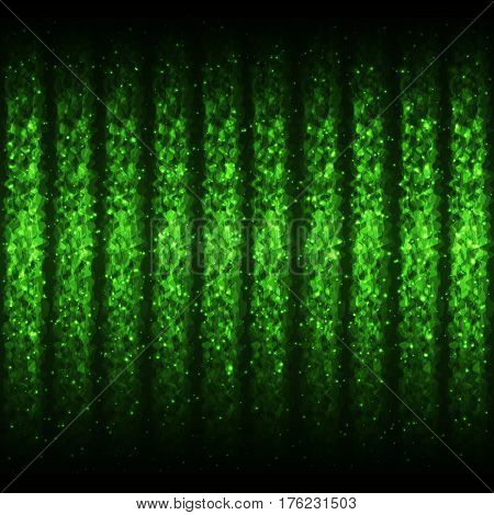 Seamless Glowing Pattern of Green Wave Lines for App Program Website. Continuous Shimmering Background with Effect of Gleaming Flying Particles.