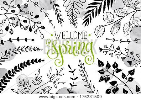 Hello spring lettering with branches and whatercolor spots on white background. Welcome spring wording. Modern calligraphy for greeting card design.