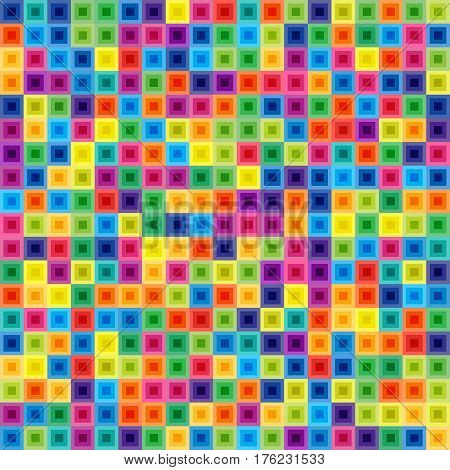 Seamless Pattern of Colorful Squares for Covers Templates Wrapping Paper. Continuous Bright Background of Geometric Shapes. Patterned Motif of Colored Quads.