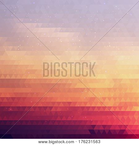 Bright Gradient Abstract Texture of Symmetric Triangles. Background of Geometric Shapes Colors of Sunset Sky with Dust Shimmering. Geometric Concept.