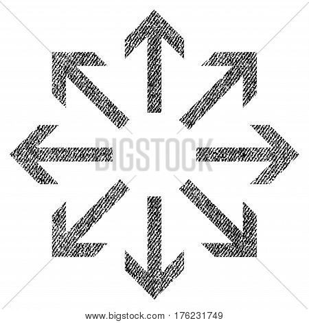 Radial Arrows vector textured icon for overlay watermark stamps. Fabric black vectorized texture. Symbol with scratched design. Rubber seal stamp with fiber textile structure.