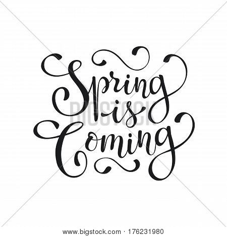 Hand written Spring time phrase. Greeting card text template isolated on white background. Spring is coming wording.