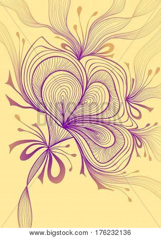 Beautiful abstract background with lace flower bows lilac on beige for wallpaper or for  decoration package perfumer textile clothes or for screen on mobile telephone tablet or for banners