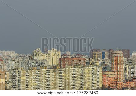 Bird's-eye view of a city with a lot of different multi-storey buildings
