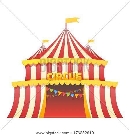 Circus tent fun park in white background vector illustration.