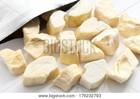Durian Zibethinus King Of Fruit Freeze Dry On White Background
