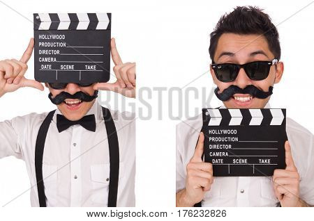 Whiskered young man with clapperboard isolated on white