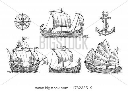 Trireme caravel drakkar junk anchor compass rose. Set sailing ships floating on the sea waves. Vintage vector engraving illustration for poster label postmark. Isolated on white background.