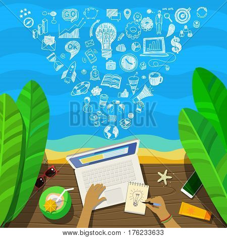 Freelance concept. Man working on a laptop at the beach, top view. Flat design, vector illustration.