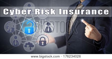 Cyber security consultant in blue shirt offering Cyber Risk Insurance. Information technology metaphor internet security concept for coverage against loss through hacking theft or data destruction.