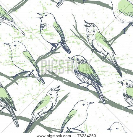 Singing birds seamless pattern/Ink hand drawn birds on the tree. For textile wallpaper wrapping web backgrounds and other pattern fills