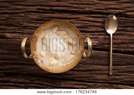 Durian Coconut Milk Sticky Rice Still Life On Wooden Background