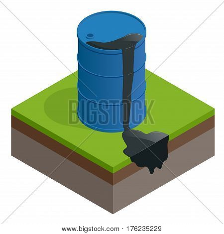 Isometric vector Oil spill or waste. Oil barrel dirty drum isolated on white background