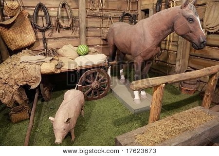exposition at the exhibition, horse, pig, cart, yoke, nursery