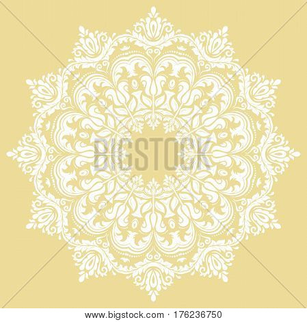 Oriental vector pattern with arabesques and floral elements. Traditional classic mandala. Vintage pattern with arabesques