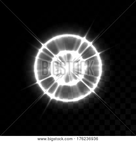 Vector white glowing lights on transparent background. Special effect light rays. Spark, star burst, flash. Spotlight flare. Illumination.
