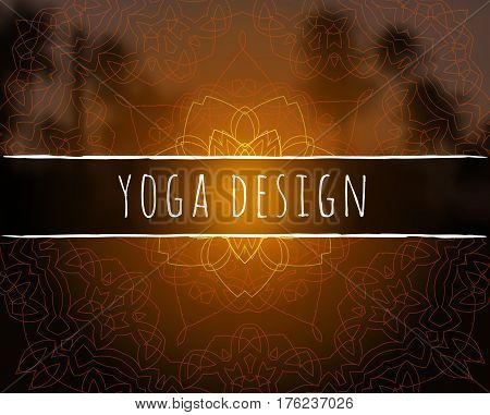 Shiny floral mandala on sunset tropic blurred background. Indian sacred geometry. For yoga studio, tantra or meditation classes and retreat. Banner, flyer, invitation. Vector EPS10 illustration.