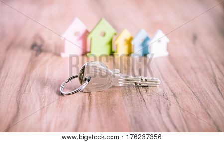 Silver Keychain laying on wooden Surface in front of miniature symbol of various coloured houses.
