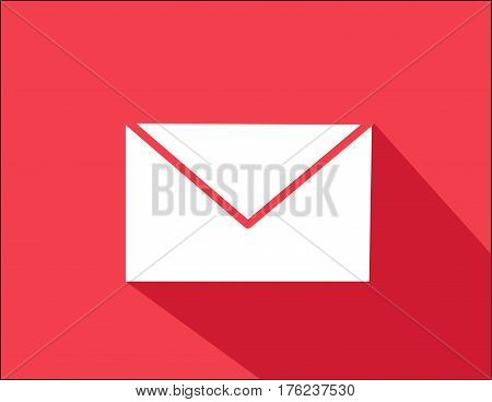 envelope illustration flat style wirh shadow and colored background