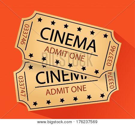 cinema tickets illustration art flat style with orange background