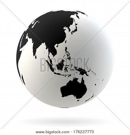 Highly detailed Earth globe symbol Australia Indian and Pacific oceans. Black on white background.