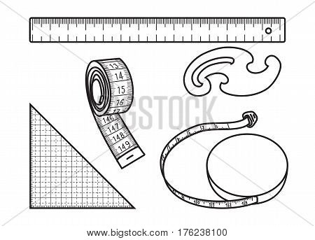 Set of measure tools for sewing and other isolated on white background, Measure tape, ruler, french curve and triangle, Vector thin line icons,