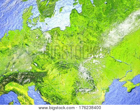 Eastern Europe On Realistic Model Of Earth