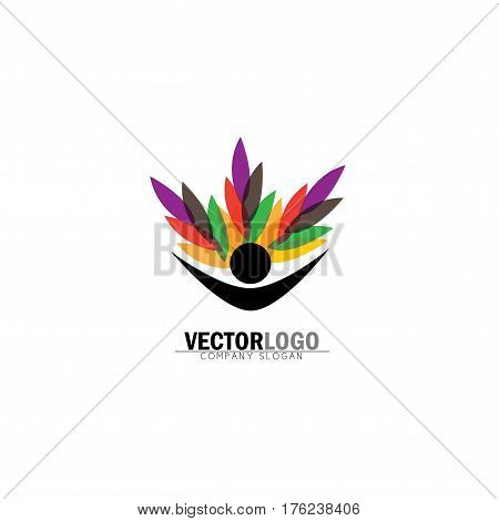 Human Life Logo Icon Of Abstract People Tree Vector Logo