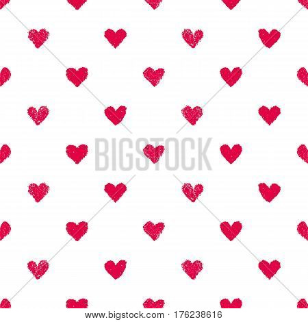Seamless heart pattern. Hand painted pastel crayon. Grunge background. Valentines day wedding baby shower graphic element. Romantic texture. Background with red hearts.