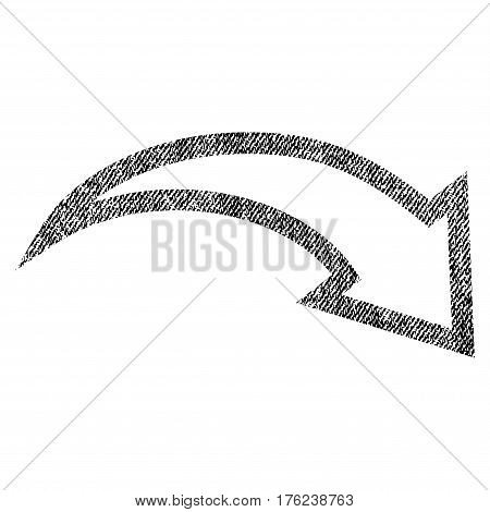Redo vector textured icon for overlay watermark stamps. Fabric black vectorized texture. Symbol with dirty design. Rubber seal stamp with fiber textile structure.