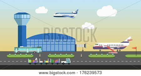 Airport flat design. Vector details and elements of plane or aircraft runway, passenger arrival and departure terminal building. Aviation, air travel and tourism concept illustration
