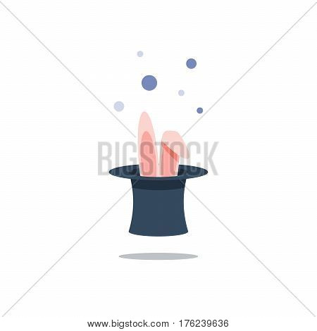 Bunny ears inside black top hat with sparkles, magic show, entertainment event, conjure performance concept, vector flat illustration