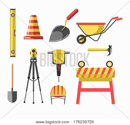 Building or construction equipment and tools. Cement or concrete cart, hammer and jackhammer, spade and trowel, safety helmet, level or measure ruler and signal bar. Vector isolated icons set